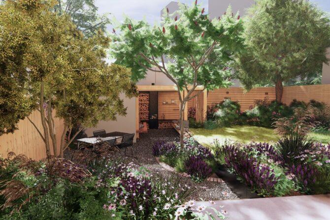 3D ontwerp tuin met schutting