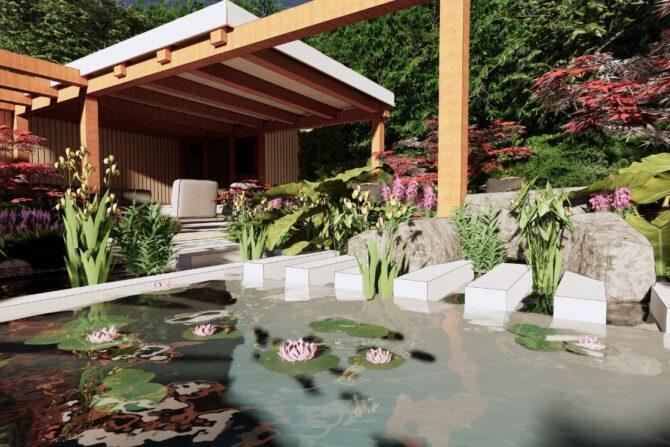 3D ontwerp tuin met waterpartij