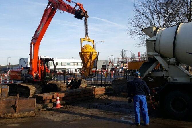 Aanleg riolering en vetput fabrieksterrein grondwerkzaamheden