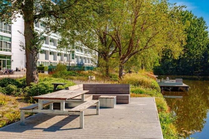 Ontwerp en aanleg park Delft timmerwerk vlonder
